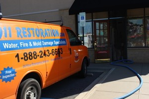 Water Damage Restoration Mesa Van Running Suction At Job Location